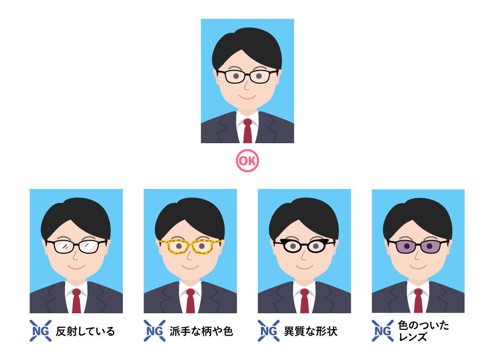履歴書用写真のメガネのOK&NGパターン