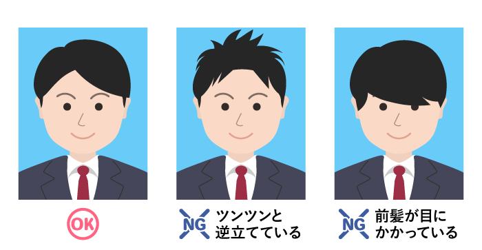 履歴書用写真の髪型のOK&NGパターン